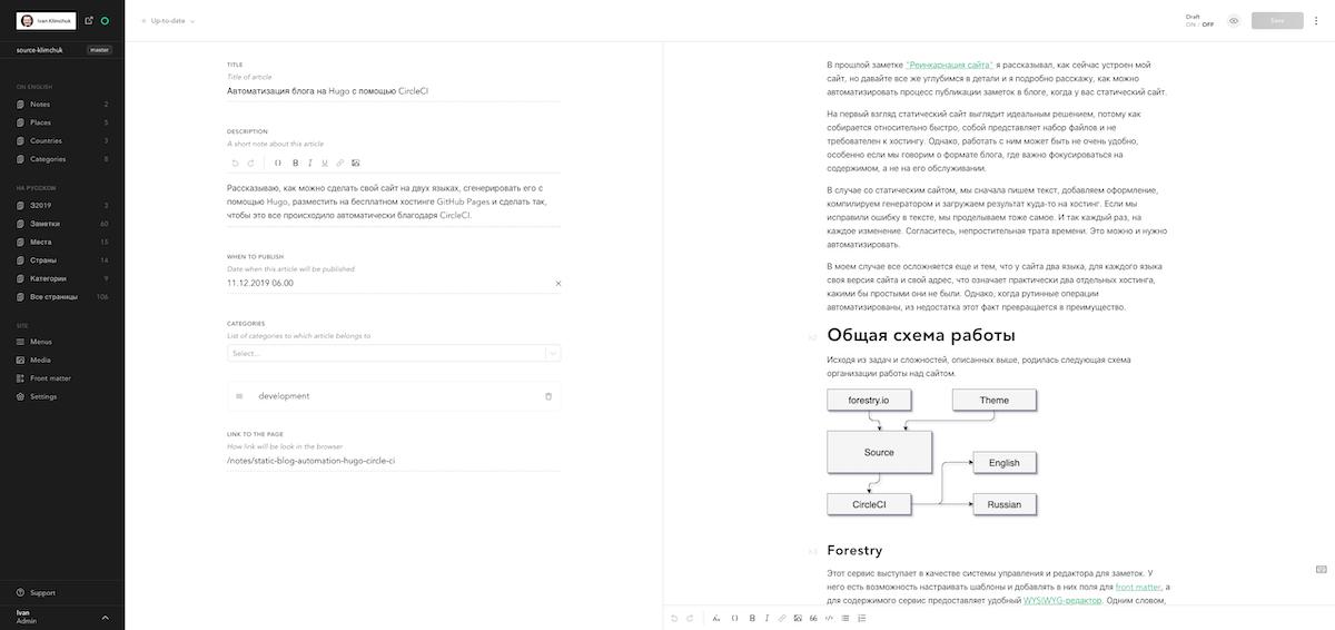 Редактор содержимого Forestry до применения пользовательских стилей